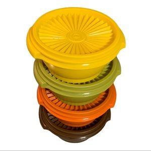 Four New Vintage Tupperware Servalier Bowls w/Lids